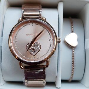 Michael Kors rose gold watch and bracelet
